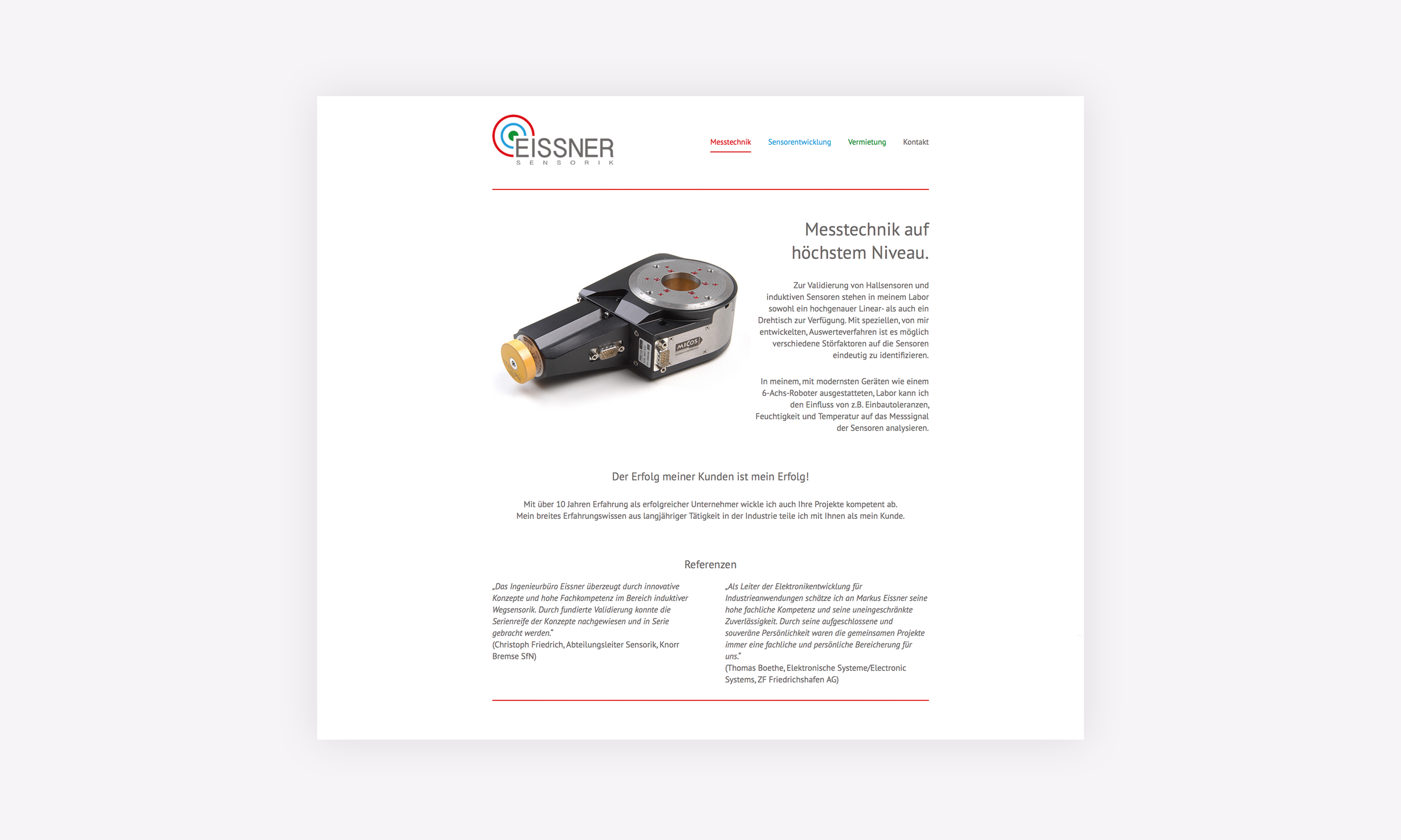 Website Eissner Sensorik